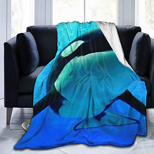 """YOLIKA Decke werfen Leichte warme,Blauer Orca-Killerwal, der unter Wasser mit Blasen-Weltmeer Orlando San Diego schwimmt,Mikrofaser Wohnzimmer/Schlafzimmer/Sofa Couch Bett Flanell Quilt,40\"""" x 50\"""""""