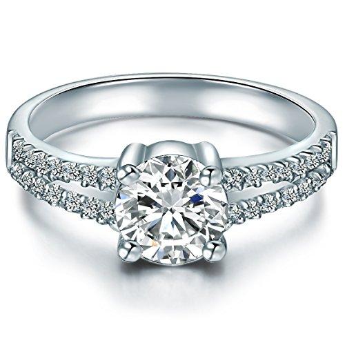 Tresor 1934 Damen-Ring Sterling Silber Zirkonia weiß im Brillantschliff - Verlobungsringe Silber mit Stein Antragsring Trauring