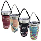 4 PACK Tumbler Carrier Holder Pouch,For All 30oz Stainless Steel Travel Insulated Coffee Mugs,Sonku Neoprene Sleeve with carrying handle,Sweat Free,Portable,Protective,Washable -4 Colors