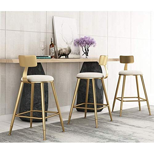 PIVFEDQX Dining Chair Bar Stools Dining Chair, High Stool Retro Wrought Iron Gold Cafe Teahouse Breakfast Counter Porch Restaurant Breathable Flannel Material (Size : Sitting Height 18in)