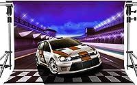 写真カーラリーのHDレーシングカーの背景プロのレーシングバックグラウンドレーサーの誕生日キッズバナー7x5ftLSMT940