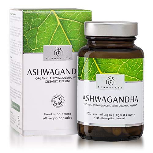 Organic Ashwagandha with Organic Black Pepper Vegan Capsules - 500mg Ashwagandha KSM-66 Certified Organic by Soil Association - Ayurvedic Withania Somnifera Root Extract - Made in the UK