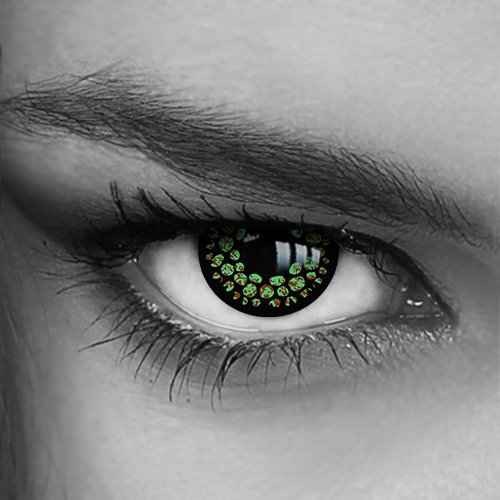 Motivlinsen - Kontaktlinsen farbig - Green Snake (H-17) - Crazy Fun Helloween Party - Markenprodukt von LUXDELUX®