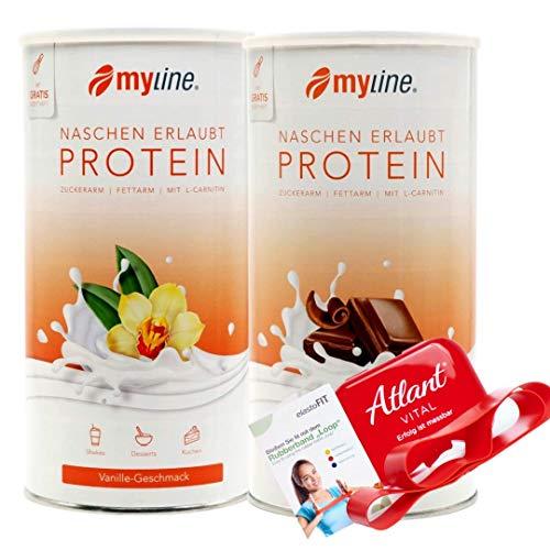 Myline Eiweiß Pulver Protein Shake 2er Pack 2x 400g + Atlant Vital Fitness Tube (Schoko-Vanille-Tube)