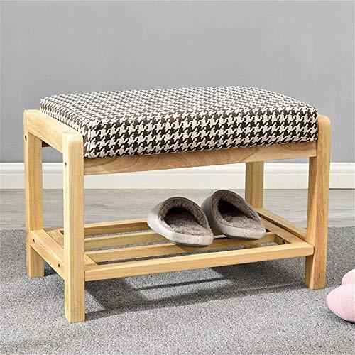HLL Banco de zapatos de madera maciza Porche Gabinete de zapatos simple Zapatero Zapatero desmontable Almacenamiento de zapatos Banco de almacenamiento Tela de almacenamiento Taburete de sofá Color d