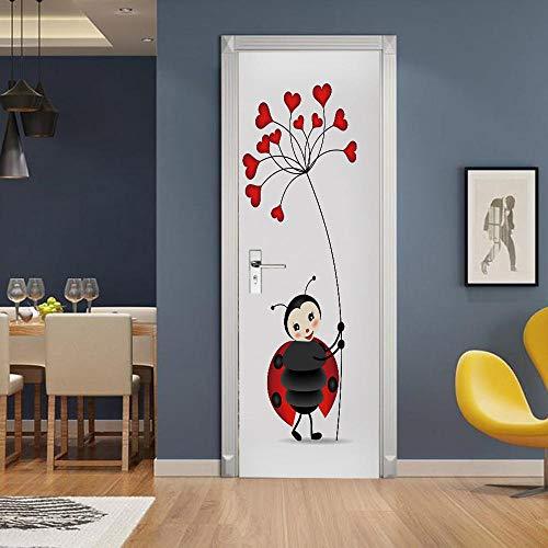 Gzltd Adhesivos para puertas Lindo escarabajo 3D Papel pintado PVC Impermeable y a prueba de aceite,adecuado para decoración de puertas sala de estar,dormitorio,cocina y baño 77x200cm
