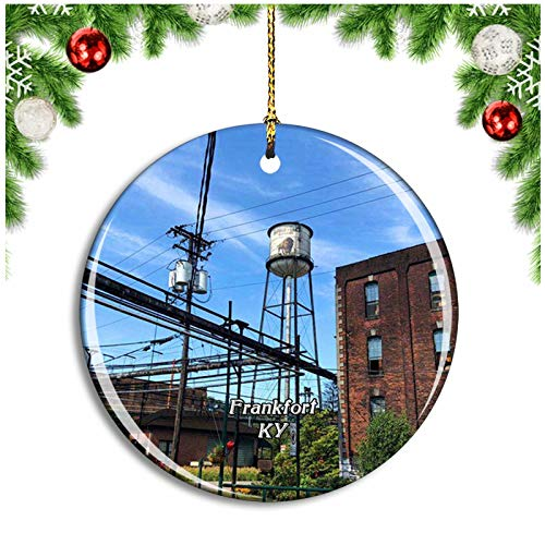 Weekino Frankfort Buffalo Trace Distillery Kentucky USA Christmas Ornament Xmas Tree Decoration Hanging Pendant Travel Souvenir Collection Double Sided Porcelain 2.85 Inch