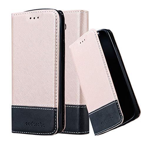 Cadorabo Hülle für LG G2 Mini in ROSÉ Gold SCHWARZ – Handyhülle mit Magnetverschluss, Standfunktion & Kartenfach – Hülle Cover Schutzhülle Etui Tasche Book Klapp Style