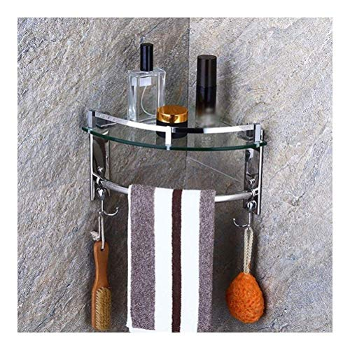 rek handdoekhouder douche glas hoekplank wand bad douchebak met 2 haken en handdoekhouder punch inbouwruimte aluminium driehoek (grootte: 3 dieren) 1 dier