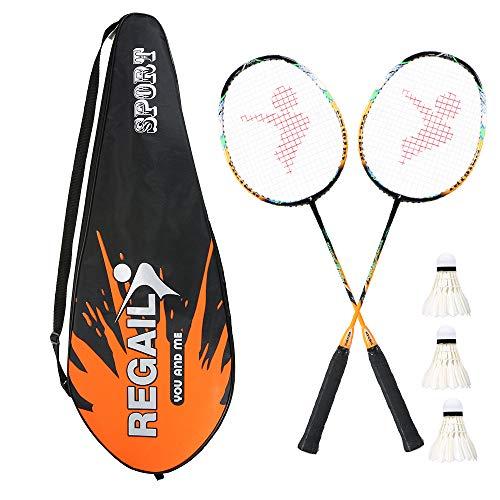 Lixada 2 Player Badminton Bat Replacement Set Ultra Light Carbon Fiber Badminton Racquet with Bag