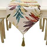HUABEI Runner tavola in Jacquard con Foglia Elegante per Home, caffè Decorativo (32 * 160cm)-Colorato