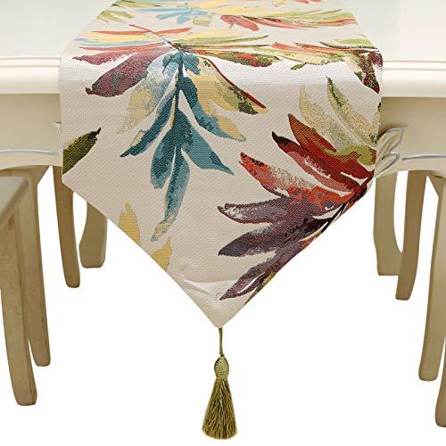 HUABEI Runner tavola in Jacquard con Foglia Elegante per Home, caffè Decorativo (32 *...