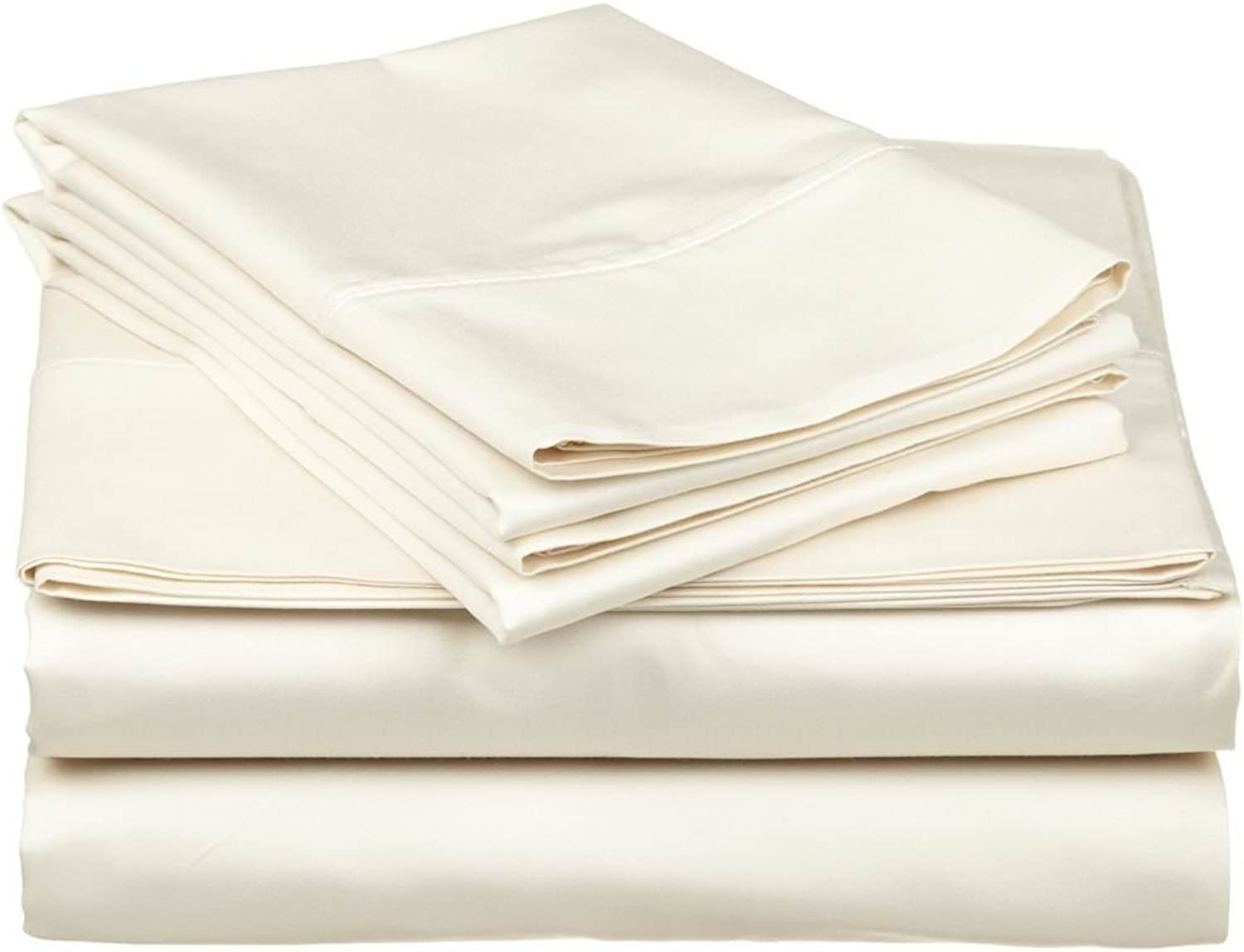 Split Queen Size Bed Sheets Set Ivory, Bedding Sheets Set,5-Piece Bedding Sheet Set 15  Deep Pocket 400 TC 100% Cotton, Solid