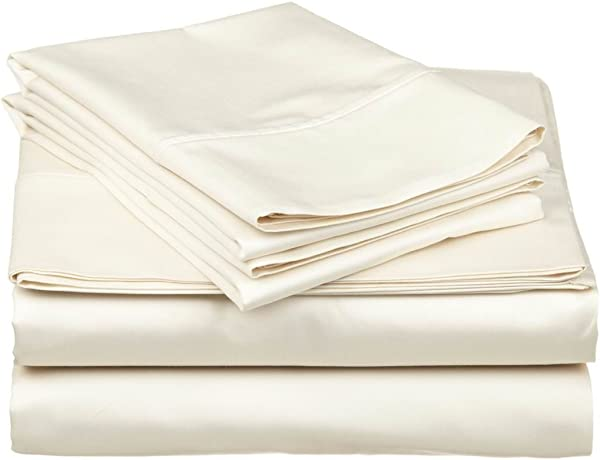 Eless Bedding Bed Sheets Set Olympic Queen 66 X80 Size Ivory Solid Long Staple 100 Cotton For Bed Fits Mattress Upto 12 Deep Pocket Soft Silky Sateen Weave 400 TC Sheets And Pillowcases
