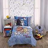Star Wars Rule The Galaxy Blue, Grey, White 4 Piece Toddler Bed Set - Comforter, Fitted Bottom Sheet, Flat Top Sheet, Reversible Pillowcase