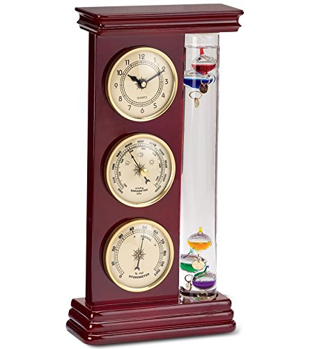 Galileo Weather Station with Clock, Barometer and Thermometer Storm Glass Desktop Gifts 12H x 6W