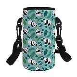 QIZHAOLAN Glass Water Bottle Sleeve Panda Bottles Carrier Cover with Adjust Shoulder Starp for School Home Office Travel Sport Yoga Gym Hot Cold Drinks 24OZ 30OZ 32OZ