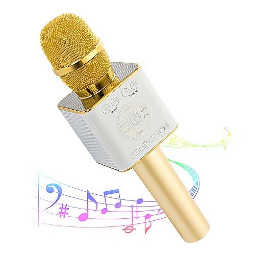 Moreslan Wireless Bluetooth Karaoke Microphone Machine,Mini Handheld Cellphone Karaoke Player Portable Hand Speaker for iPhone,Android, iPad,PC and All Smartphones, 2600mAh Gold