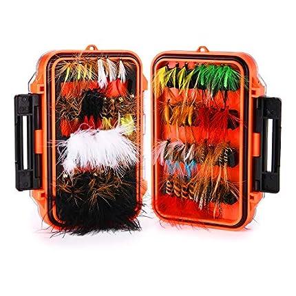 Magreel señuelos de Pesca 64 piezas/120 Piezas Kit de Señuelos de Pesca con Caja de Moscas Húmedas Secas para Trucha de Bajo y Salmón, 64 Piezas