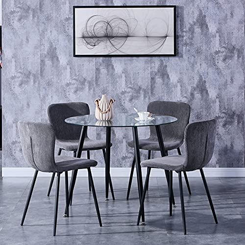 GOLDFAN Dining Table and 4 Chairs Tempered Glass Kitchen Table and 4 Fabric Padded Chairs Home Office Furniture,White/Grey