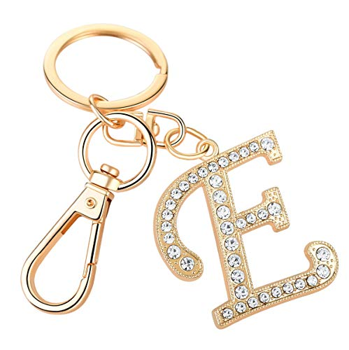 Keychain for Women AlphaAcc Purse Charms for Handbags Crystal Alphabet Initial Letter Pendant with Key Ring,Letter E