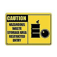 Caution Hazardous Waste Storage Area Restricted Entry 金属板ブリキ看板警告サイン注意サイン表示パネル情報サイン金属安全サイン