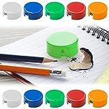 ANTEVIA – Lot de 10 taille-crayons   PLUS DE 15 MODELES DE TAILLE CRAYONS   Couleur: Blanc Orange Rouge Bleu Vert (Spiked)