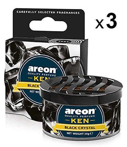 Areon Ken Lufterfrischer Dose Auto Duft Schwarz Kristall Autoduft Duftdose Wohnung Erfrischer 3D Set ( Black Crystal Pack x 3 )