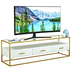 Mecor White Modern TV Stand, Entertainment Center