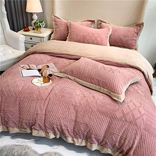 Shinon grey king size bedding set,Winter double-sided velvet high-end carved French velvet thick duvet cover extra large bedding set-B_1.2m bed (3 pieces)