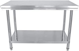 Mesa de Trabajo de Catering Comercial de Acero Inoxidable para Restaurante Bar Hogar Cocina Lavandería Garaje y Cuarto de Servicio, 120x85x60 cm