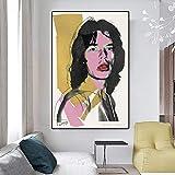 DHLHL Póster artístico de Andy Warhol, Pintura en Lienzo, Retrato de Mick Jagger, Carteles e Impresiones, Cuadros de Pared para la decoración del hogar de la Sala de Estar, 50x70cm sin Marco