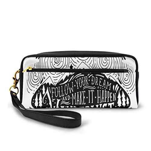 Pencil Case Pen Bag Pouch Stationary,Vintage Motif Follow Your Dream Make It Happen Wanderlust Never Stop Exploring,Small Makeup Bag Coin Purse