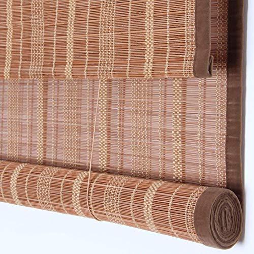 FSXJD Volets roulants en Bambou Naturale Rideau de Roseau Occultants Isolation Thermique Store en Bambou avec Levage pour intérieur Cloisons extérieures-W130×H220cm/W51×H87inch