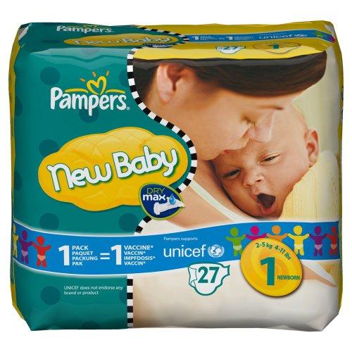 Pampers New Baby Windeln Gr.1 Newborn 2-5 kg Tragepackung, 27 Stück