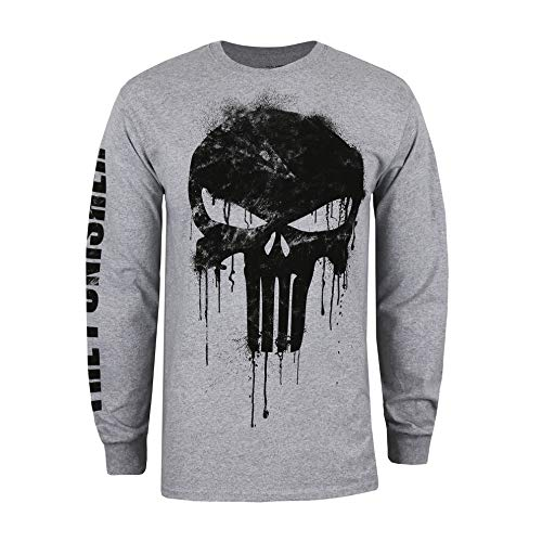 Marvel Avengers Punisher Skull Maglia a Maniche Lunghe, Grigio (Grey Heather Hgy), X-Large Uomo
