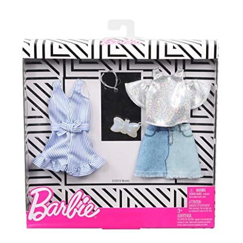 Barbie- Fashionista Bambola con 2 Outfit, Denim e Scintillante Giocattolo per Bambini 3+ Anni, GHX56