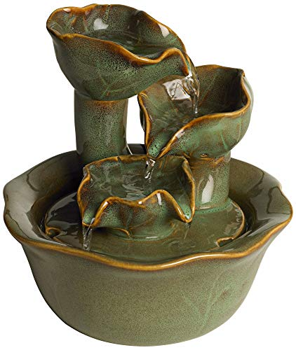 """John Timberland Organic Water Lily Indoor Table-Top Water Fountain 8"""" High Cascading for Table Desk Office Home Bedroom"""
