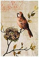 トリプティクヴィンテージ水彩鳥ツリーキャンバス絵画古典的な動物アートプリントポスター動物の壁アート画像家の装飾40x60cmフレームなしFg
