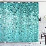 ABAKUHAUS Türkis Duschvorhang, Tupfen-Mosaik, Digital auf Stoff Bedruckt inkl.12 Haken Farbfest Wasser Bakterie Resistent, 175 x 200 cm, Teal Türkis Seafoam