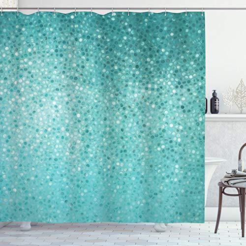 ABAKUHAUS Türkis Duschvorhang, Tupfen-Mosaik, Digital auf Stoff Bedruckt inkl.12 Haken Farbfest Wasser Bakterie Resistent, 175 x 180 cm, Teal Türkis Seafoam