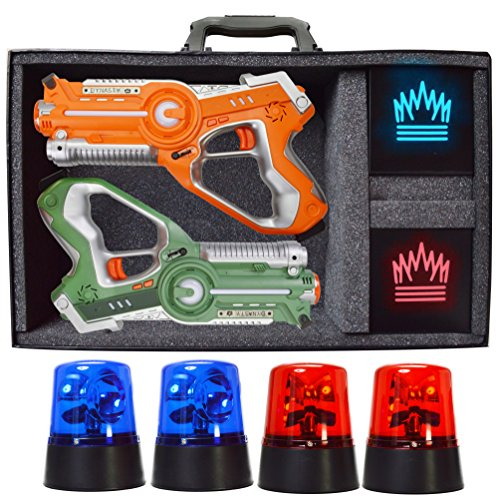 DYNASTY TOYS Capture The Flag | Glow in The Dark Yard Games for Adults and Families. Includes 2 Player Laser Tag Set and Target Shooting Cubes.
