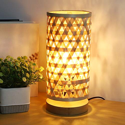 PADMA LED Beside Table Lamp, Decorative Table Lamps with Solid Wood Base, Creative Wooden Bedside Lamp with Handmade Bamboo Wicker Rattan Lampshade, Nightstand Light for Bedroom, Living Room, Study