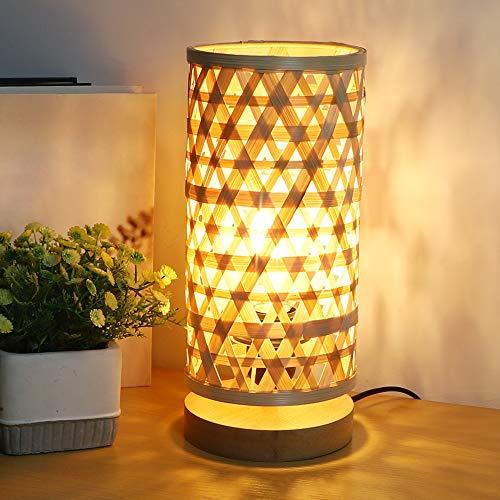 Depuley - Lámpara de mesa con pantalla de bambú, lámpara de lectura, luz cálida E27, diseño moderno de bambú y madera...