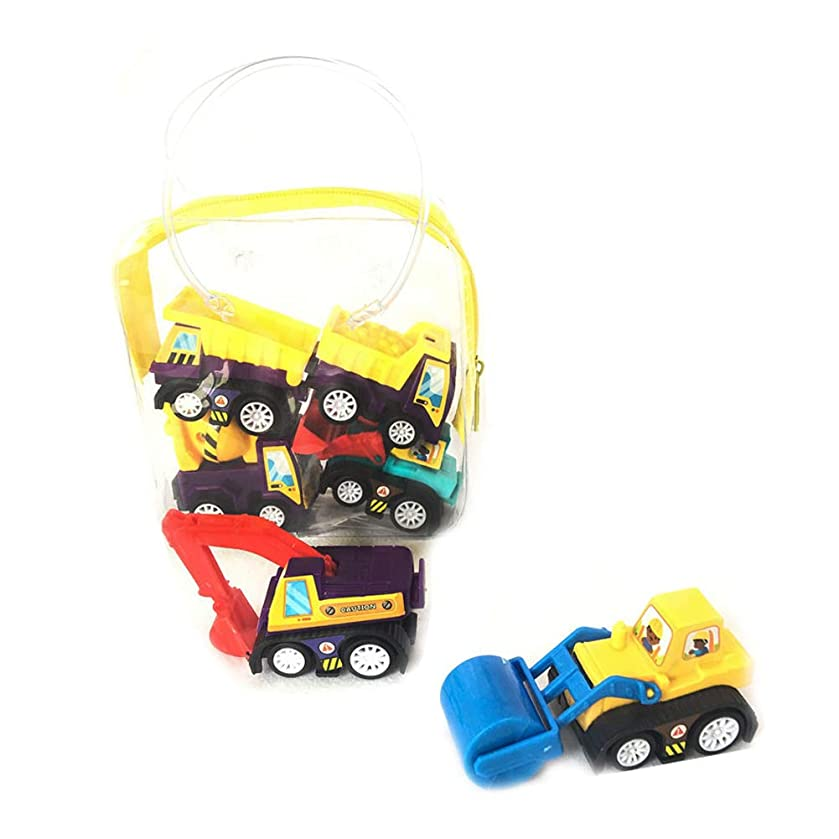 Hemore Pull Back Vehicle Kids Mini Engineering Cars Toys Set Includes Bulldozer Tractor Truck Cement Mixer for Toddler Boys Pack of 6 (No Battery Needed)