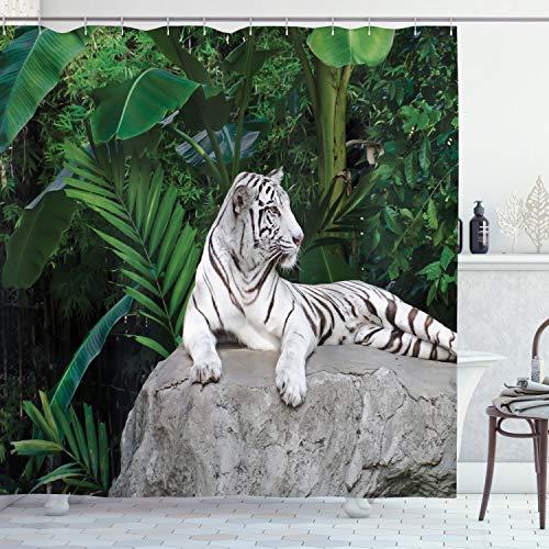 ABAKUHAUS Duschvorhang, Chilliger Weißer Tiger Liegt in Natur Junge in Seiner Natürlichen Umgebung Mehrfarbiges Druck, Blickdicht aus Stoff inkl. 12 Ringen Umweltfre&lich Waschbar, 175 X 200 cm