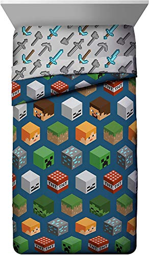 Minecraft Isometric Characters Twin Comforter - Super Soft Kids Bedding Features Creeper - Fade Resistant Polyester Microfiber Fill (Official Minecraft Product)
