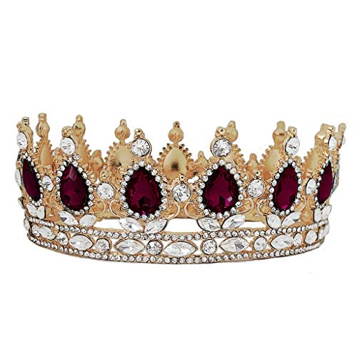 niumanery Crown Rhinestone Tiaras for Costume Party Hair Accessories with Gemstone Gold Purple