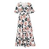 KeYIlowys Damen Sommer Blumendruck Damen Kleid, Taille Abnehmen Sexy Print Kleid Kurzarm...