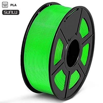 SUNLU PLA Filament 1.75mm 3D Printer Filament PLA Tangle-Free 1kg Spool (2.2lbs), Dimensional Accuracy of +/- 0.02mm PLA Green